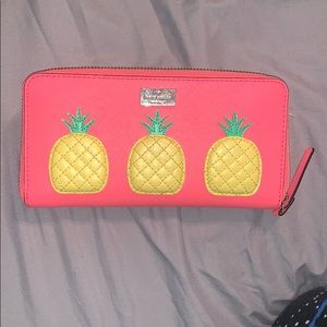 Kate Spade large leather pink pineapple wallet